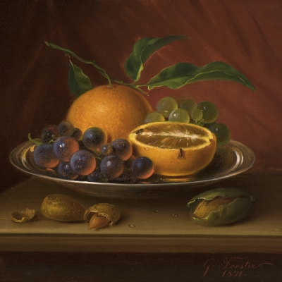 George Forster (1817–1896), Still Life with Fruit, Nuts and Fruit Flies, 1871, oil on canvas, 9 7/8 x 12 in. (detail)