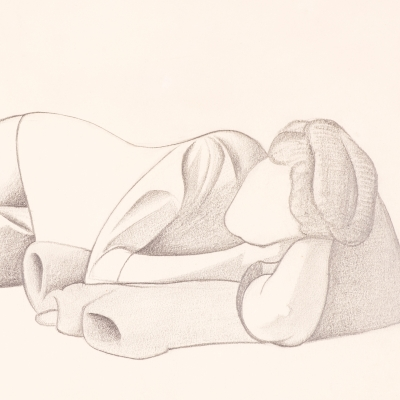 George C. Ault, (1891–1948), Reclining Figure, 1923, pencil on paper, 8 7/8  x 11 7/8  in. (detail)
