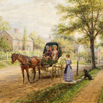 Edward Lamson Henry (1841–1919)  A Sunday Visit, 1906 Oil on canvas, 12 x 16 in. (detail).
