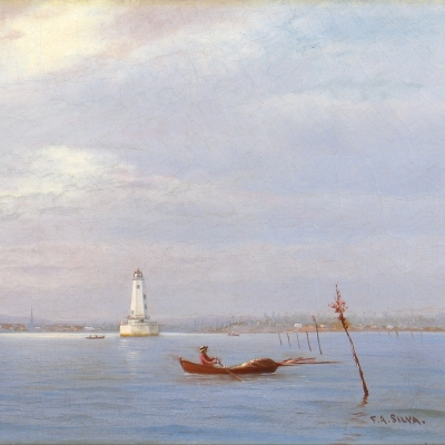 Francis Augustus Silva (1835–1886), Robbin's Reef Lighthouse off Tompkinsville, New York Harbor, c. 1880, oil on canvas, 9 x 18 in. (detail)