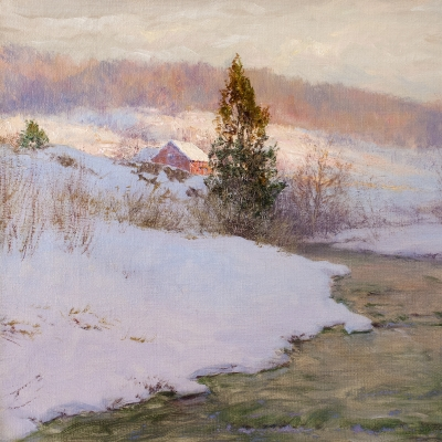 Walter Launt Palmer (1854–1932), Upland Stream, 1904, oil on canvas, 16 x 24 in., (detail)