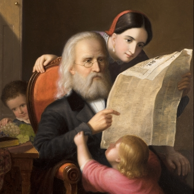 An intimate family scene showing an elderly man reading the newspaper with his daughter while his grandchildren try to distract him (detail).