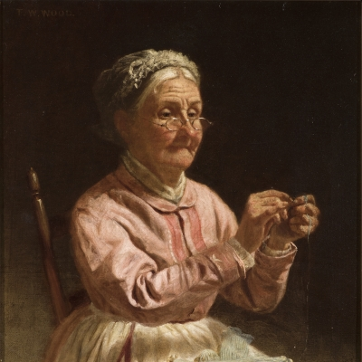 Thomas Waterman Wood (1823–1903), Threading a Needle, c. 1870, oil on canvas, 10 x 12 in. (detail)