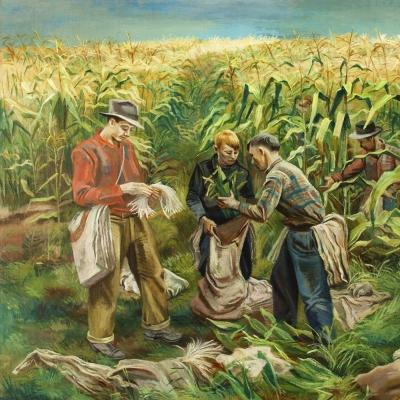 Joe Jones (1909–1963), Cornfield, 1941, oil on canvas, 30 1/8 x 40 1/8 in. (detail)