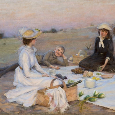 Charles Courtney Curran (1861–1942), Picnic Supper on the Sand Dunes, 1890, oil on canvas, 12 x 20 in. (detail)