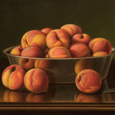 Levi Wells Prentice (1851–1935), Peaches in a Silver Bowl, oil on canvas, 12 x 18 in. (detail)