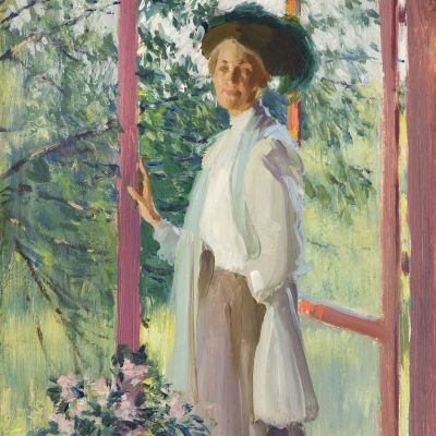 Edward Dufner (1871–1957), The Artist's Wife, oil on paper mounted on board, 9 1/2 x 7 1/2 in.