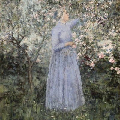 George Hitchcock (1850–1913) Woman in a Garden, 1890. Oil on canvas. 17 1/4 x 13 5/8 in. (detail)