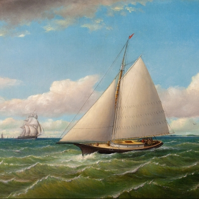 Charles H. Gifford (1839–1904), Ships Off Gay Head, 1867, oil on canvas, 17 x 26 1/2 in., signed and dated lower right