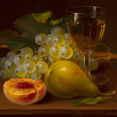 George Forster (1817–1896), Still Life with Fruit and Wine Glass, 1872, oil on canvas, 8 x 10 in. (detail)