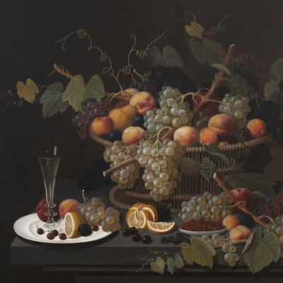 Severin Roesen (1816–c. 1872). Still Life with Champagne and Fruit, 1851. Oil on canvas, 35 3/8 x 45 in. (detail)