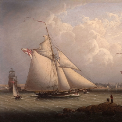 Robert Salmon (1775–c. 1845), English Cutter and Lugger, off North Shields, 1840, oil on panel, 16 1/2 x 24 1/2 in. (detail)