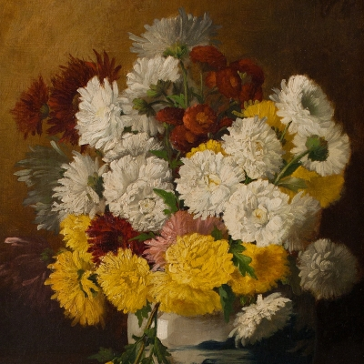 Claude Raguet Hirst (1855–1942) Chrysanthemums in a Canton Vase, c. 1886. Oil on canvas. 16 x 12 in. (detail)