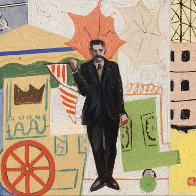 Francis Criss (1901–1973), Mural Study, c. 1930, oil on artist board, 4 x 7 in. (detail)