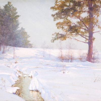 Walter Launt Palmer (1854–1932), Stream in Winter, 1913, watercolor and gouache on paper, 18 x 24 in. (detail)