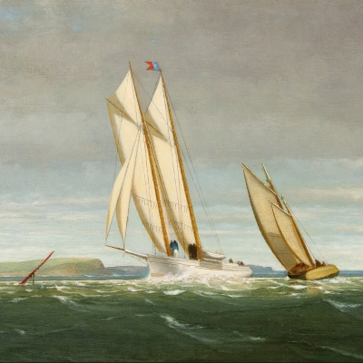 George Curtis (1816–1881), Sailing off the Coast, 1878. oil on panel, 11 ½ x 20 in. (detail)