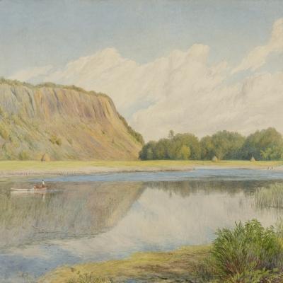 John Henry Hill (1839–1922). Marsh Landscape, 1865. Watercolor on paper. 10 1/4 x 15 1/4 in. (detail)