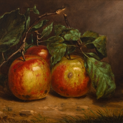 William Rickarby Miller (1818–1893), Study of Apples on a Bough, 1873, oil on board, 8 1/2 x 12 1/2 in. (detail)