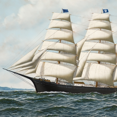 Antonio Jacobsen (1850–1921), The Four Masted Barque Roanoke Under Full Sail, 1914, oil on board, 19 1/2 x 35 1/2 in. (detail)