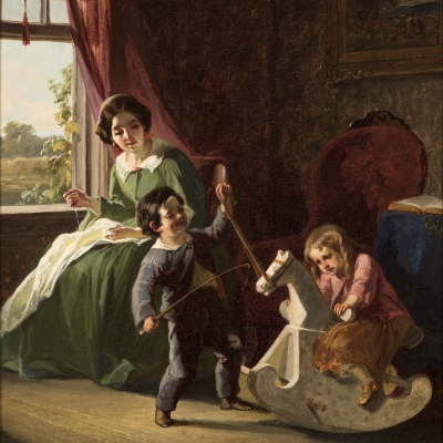 Christian Schussele (1824–1879), The Rocking Horse, c. 1850, oil on canvas, 16 x 12 in. (detail)