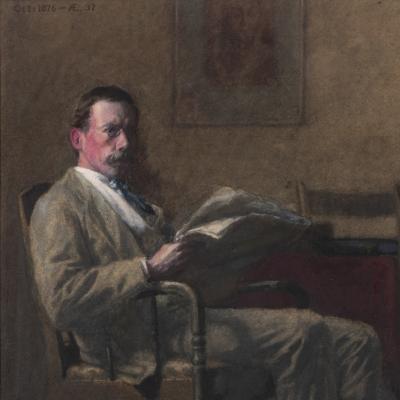 Thomas Anshutz (1851–1912). Portrait of a Philadelphia Gentleman (Ernest Lee Parker). Watercolor and gouache on paperboard. 12 1/4 x 9 1/4 in. (detail)