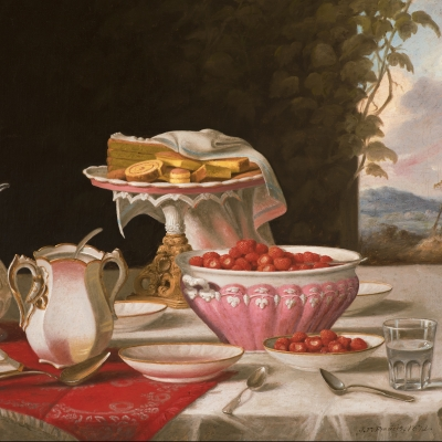 John F. Francis (1808–1886), The Dessert, 1872, oil on canvas, 25 x 30 ½ in. (detail)