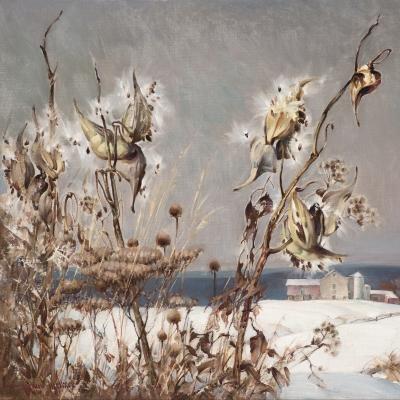 Arthur Meltzer (1893–1989), Milkweed in Winter, c. 1930, oil on canvas, 20 x 24 in. (detail)