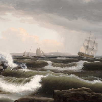 Stormy seascape off the coast of Maine by Thomas Birch (detail).