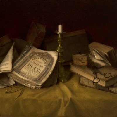 Jefferson David Chalfant (1856–1931), The Old Almanac, 1886, oil on canvas, 17 1/2 x 25 5/8 in. (detail)