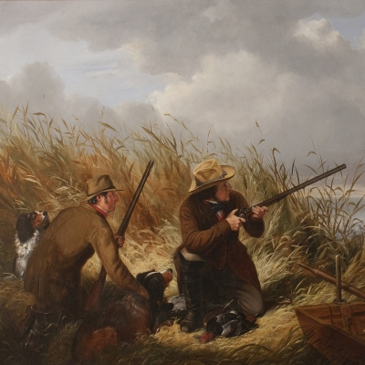 Arthur Fitzwilliam Tait (1819–1905)  Duck Shooting over Decoys, 1854. Oil on canvas. 30 x 43 in. (detail)