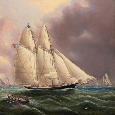 James E. Buttersworth (1817–1894), Yacht Henrietta Off the Isle of Wight, 1866, oil on board, 9 x 12 in. (detail)