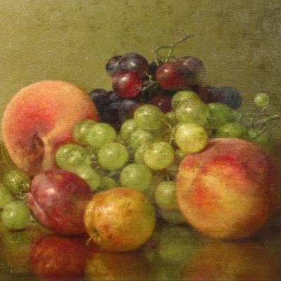 Robert Spear Dunning (1829–1905), Fruit Still Life, 1902, oil on canvas, 9 x 11 3/4 in.  (detail)