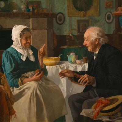 Louis Charles Moeller (1855–1930), Spinning Yarns, c. 1890, oil on canvas, 18 x 24 in. (detail)