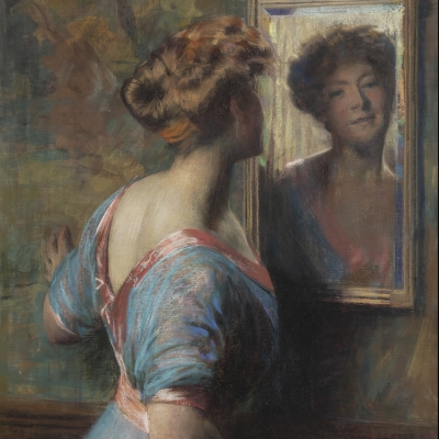 Thomas Anshutz (1851–1912). A Passing Glance, c. 1907. Pastel on canvas, 42 x 30 in. (detail)