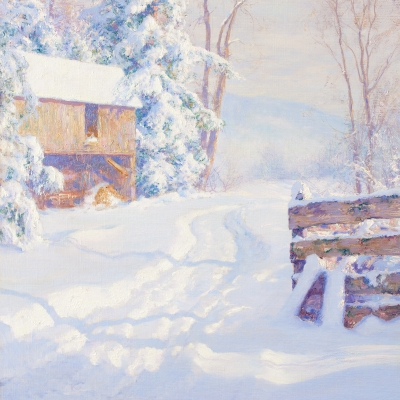 Walter Launt Palmer (1854–1932), Winter Morning, 1915, oil on canvas, 28 x 18 in. (detail)