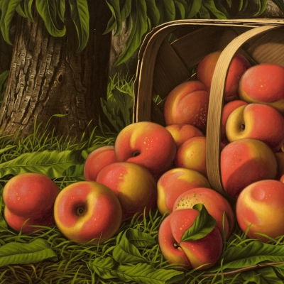 Levi Wells Prentice (1851–1935), Peaches in a Basket Under a Tree, oil on canvas, 12 x 22 in. (detail)