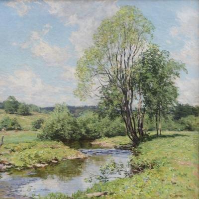 Willard Leroy Metcalf (1858–1925), Green Idleness, 1911, oil on canvas, 26 1/4 x 29 1/4 in. (detail)