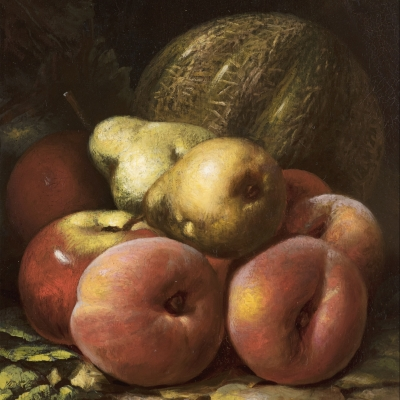Peter Baumgras (1827–1903), Still Life with Fruit, 1870, oil on board, 12 x 8 in. (detail)