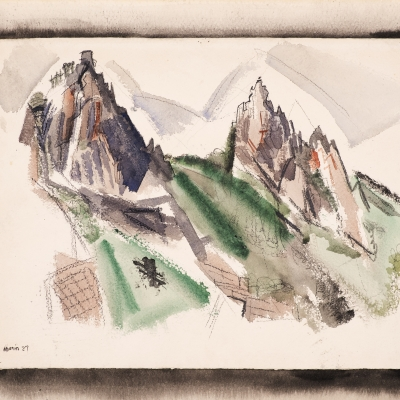 John Marin (1870–1953), White Mountain Country, Summer No. 29, Dixville Notch, No. 1, 1927, watercolor, graphite, and black chalk on paper, 17 7/8 x 22 1/4 in. (detail)