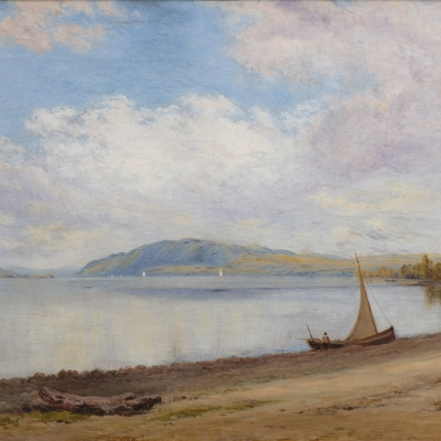 John William Hill (1812–1879) Afternoon, Newburgh-on-Hudson, 1868. Oil on canvas. 15 x 24 in. (detail)