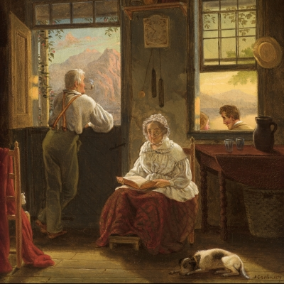 John Carlin (1813–1891)  Sunday Afternoon, 1859 Oil on canvas, 14 x 12 in. (detail)