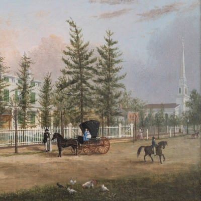 John Evers, Jr. (1797–1884). Front Street, Hempstead, New York, 1870. Oil on canvas. 11 ¾ x 17 in. (detail)