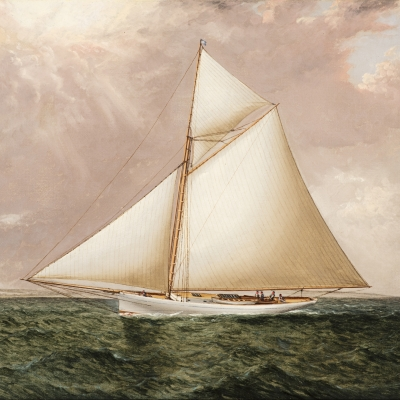 James E. Buttersworth (1817–1894), A Gaff Rigged Racing Cutter, c. 1893, oil on canvas, 12 x 20 in. (detail)