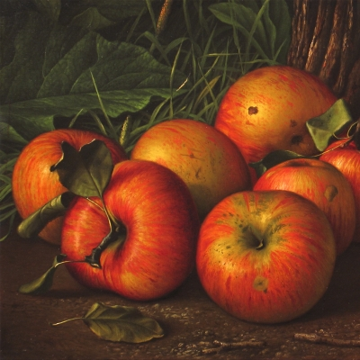 Levi Wells Prentice (1851–1935), Apples by a Tree, c. 1885, oil on canvas, 10 x 18 in. (detail)
