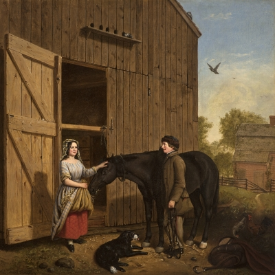 Jerome Thompson (1814–1886), The Rustic Chat, 1850, oil on canvas, 25 x 30 in. (detail)