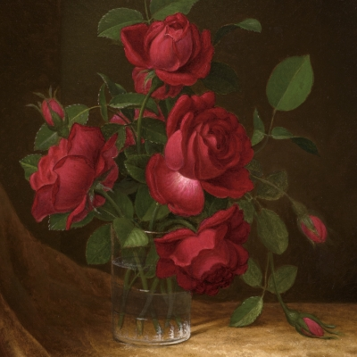 Martin Johnson Heade (1819–1904),  Four Roses in a Glass, c. 1883–1900, oil on canvas, 22 x 14 in. (detail)