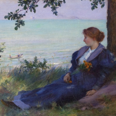 Charles Courtney Curran (1861–1942), An Afternoon Respite, 1894, oil on canvas, 9 x 12 in. (detail)