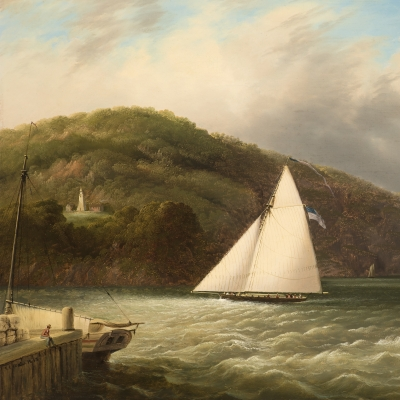 Edmund C. Coates (1816–1871)  Yachting on the Hudson, 1863 Oil on canvas, 24 x 34 in. (detail)