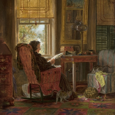 Edward Lamson Henry (1841–1919), Totally Absorbed, 1874. Oil on board, 8 x 9 inches (detail).