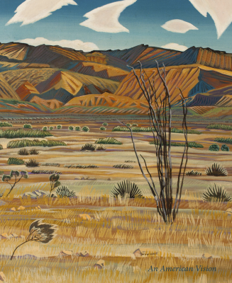 Cover of a catalogue titled An American Vision IV. Cover illustration is a landscape painting by Alexandre Hogue.